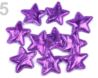 20 stars, purple, 3 cm