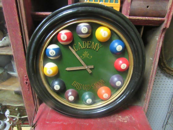Billiard Ball Clock Academy Billiard Saloon