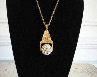 Great Vintage Large Rhinestone Disco Ball Gold Tone Necklace