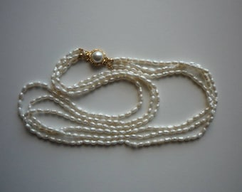 Vintage 3 Strand Faux Seed Pearl Gold Tone Necklace Wedding Bridal