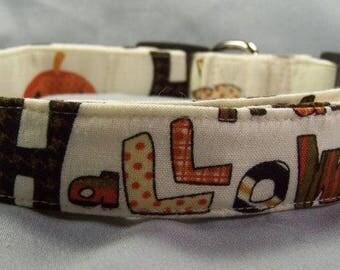 Halloween Dog Collar Halloween Words on Cream