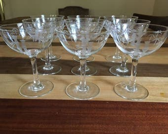 Set of 9 Elegant Vintage Noritake Sasaki Tall Etched Glass Bamboo Cop Glasses.  1940's stemware, mid century modern, mad men, martini glass