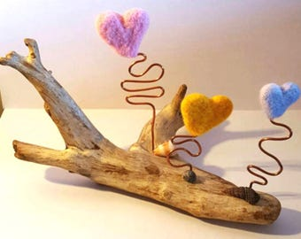 Driftwood art, home decor, needle felted home decor, home ornament driftwood ornament - needle felted ornament