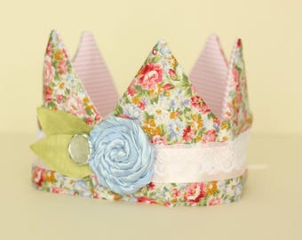 Coral and Blue Floral Fabric Crown with Light Blue flower trim