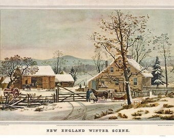 New England Winter Scene - 1861 - Currier & Ives Lithograph Reprint - USA Regional