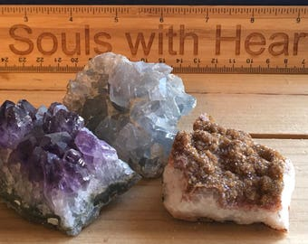 Small Amethyst Crystal ,Clear Quartz Crystal, Celestite Crystal and  Citrine Crystal Grouping, Healing Crystals and Stones