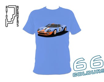 Ford GT40 Mk1 Gulf Race Car PERSONALISED T-Shirts by AutoRenders - 66 Colours - S/M/L/XL/2XL/3XL* - Unisex - Shirt & Car Colour Match!