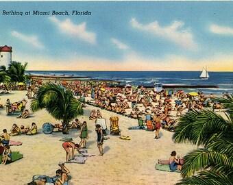 Miami Beach Florida Sun Bathing Vintage Postcard (unused)
