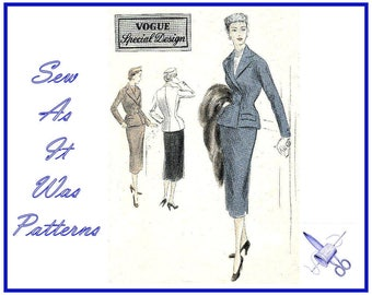 1950s Vogue Special Design S-4187 Double Breasted Suit Jacket Flap Pockets Notch Collar Pencil Skirt Vintage Sewing Pattern Size 12 Bust 30