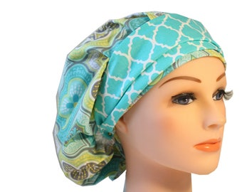 Scrub Cap Surgical Medical Hat Chemo Chef Vet Doctor Nurse Hat Banded Bouffant Tie Back Medallion Green Yellow Teal 2nd Item Ships FREE