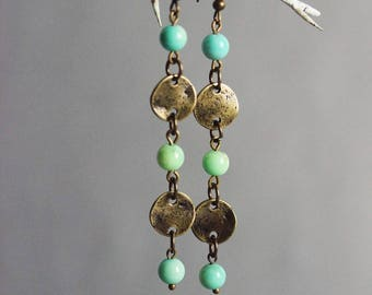Extra Long Earrings Amazonite Earrings Bronze Earrings Green Gemstone Earrings Broze Green Earrings Boho Earrings Hippie Earring Boho Bronze
