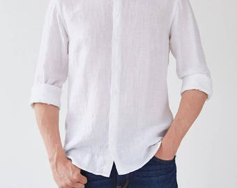 White Linen Juniper Men's Shirt