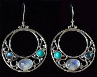 Art Nouveau Moonstone Earrings: MUCHA