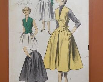 Advance 6007 Dress Gathered Full Skirt Weskit Vest Vintage Sewing Pattern 1950s 50s Size 14