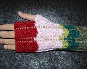 Chevron mittens pure Merino Wool