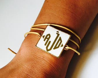 Monogrammed Leather Cord Wrap Bracelet