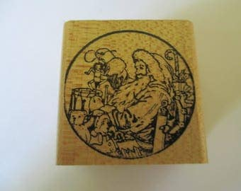 """Rubber Stamp  """" Christmas Santa""""  used fair condition"""