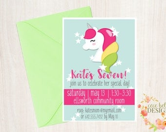 Unicorn Rainbow Birthday Party Printable Package