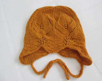 Hand Knitted Baby Lace Hat. Size 3-6 months. Ready to Ship.