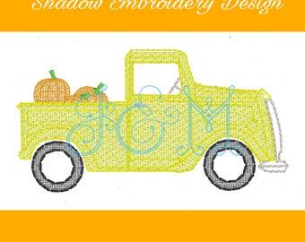 Shadow Vintage Style Stitch Truck With Pumpkin Machine Embroidery Designs 4x4