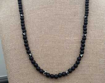 Beaded necklace, Boho necklace, fun necklace, long necklace, statement necklace, black necklace, gift for her.