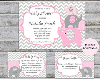 Elephant Baby Shower Invitations Girl Pink And Grey Bookcard Inserts U0026  Diaper Raffle Printable Baby Shower