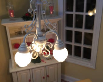 Beautiful Electric One Inch Scale 3 Arm Hanging Light for a One Inch Scale Dollhouse
