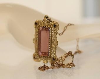 Antique Amethyst Gold Filled Pendant Necklace  Art Nouveau Victorian Necklace, Vintage Bride Jewelry, Amethyst Jewelry