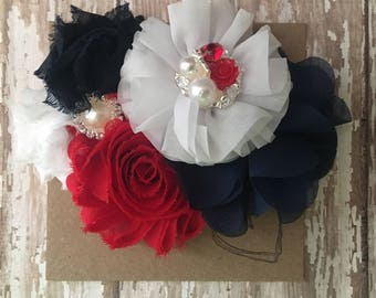 Red, White, and Blue Shabby Flower Headband, 4th of July