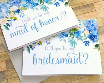 Will You Be Maid of Honor Card - Maid of Honor Proposal Card - Hydrangea Be My Bridesmaid - Wedding Card -  Maid of Honor - ETERNITY