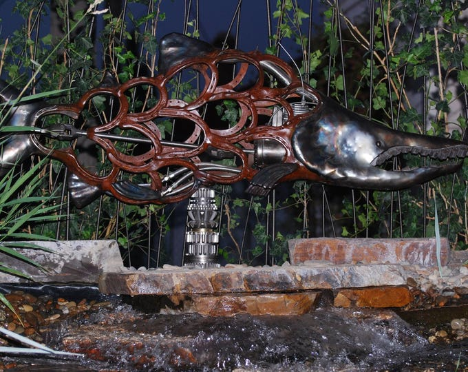 Made to Order Custom Found Object Metal Sockeye Fish Sculpture by Jacob Novinger