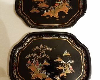 Set of 2 Vintage Baret Ware Hore D'oeuvre Trays