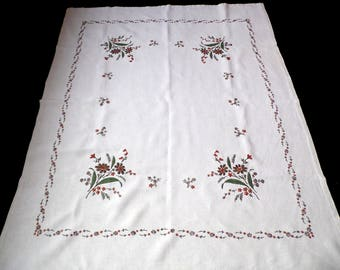 Big Vintage linen tablecloth amazing Floral embroidery hand embroidered Flowers table cloth