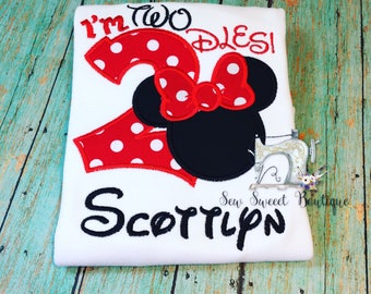 Minnie Mouse twodles, minnie birthday shirt, second birthday, number two, minnie Mouse second birthday, girls mickey shirt, im twodles
