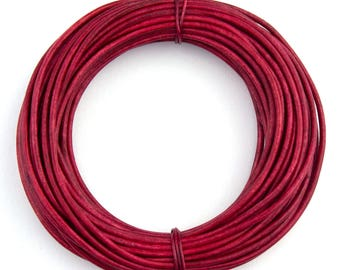 Pink Hot Natural Dye Round Leather Cord 1.5mm 25 meters (27.34 yards)