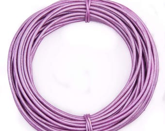 Lilac Metallic Round Leather Cord 1mm 25 meters (27.34 yards)