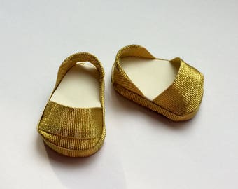 Gold slip on shoes. Wellie Wisher sized shoes. Handmade. 14 inch doll shoes.