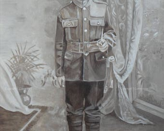 Vintage Soldier, First World War  - Giclee print from an original acrylic painting