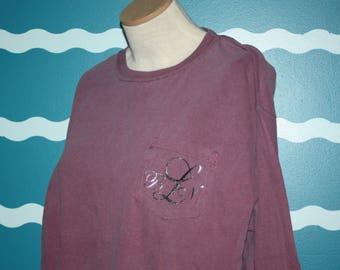 Monogrammed Pocket Long Sleeve Shirt - Personalized Pocketed T-shirt - Custom Plus Size Long Sleeve Shirt