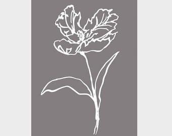 A3 Tulip Poster | White Ink & Smoke | Wall Art Grey | Botanical Prints