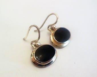 Vintage Silver Earrings Dangle  925 Sterling Silver Black Stone Casual Style Jewelry Women's Fashion Accessories Drop Earrings
