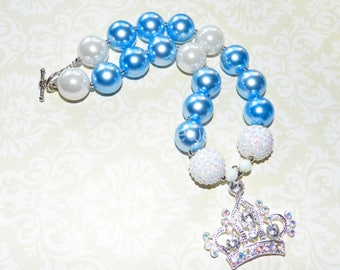 Chunky Bead Necklace Princess Crown White Blue Pearl Bubblegum Bead Necklace Birthday Princess Necklace Toddler Little Girl Jewelry