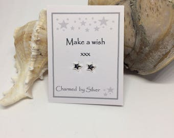 Sterling Silver 3D Star stud Earrings with Message