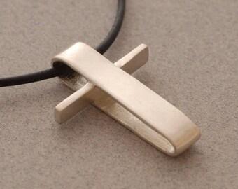 15%OFF-Ships on Sept15 Men's Sterling Silver Cross, Art Cross Pendant Necklace, Christian Gifts for Men, Silver Cross Necklace  ST377