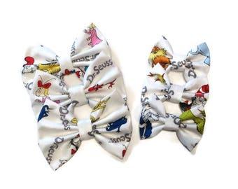 Dr Seuss Bow | Fabric Bow | Handmade Hair Bow | Hair Clip | Headband