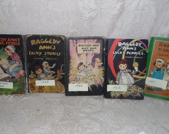 Antique Raggedy Ann & Andy Hardcover Books Lot Of 5 1925 1928 1930 1932 1951