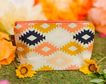 Makeup bag, Cosmetic bag, Cosmetic pouch, Makeup pouch, Travel bag, Large zipper pouch, Aztec bag, Aztec, Gift for her