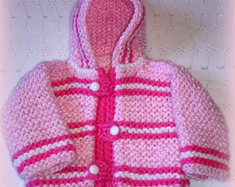 Hand knit baby hooded sweater,3 to 6 months,great outdoor sweater, original design by kidsknits1