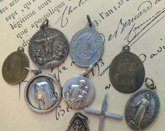 Rare lot 9pcs French antique  Bronze religious medals crucifix cross pendant reliquary filigree gothic lys flower star