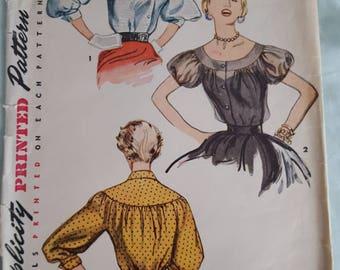 Vintage Pattern Simplicity 4463 Size 12 Bust 30, Blouse 1950s
